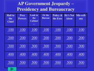AP Government Jeopardy –  Presidency and Bureaucracy