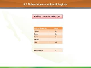 6.7 Fichas t�cnicas epidemiol�gicas