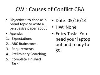 CWI: Causes of Conflict CBA