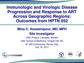 Immunologic and  Virologic  Disease Progression and Response to ART Across Geographic  R egions: