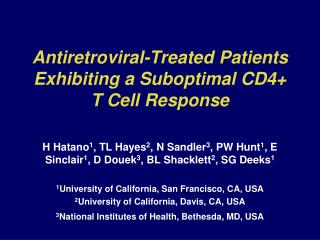 Antiretroviral-Treated Patients Exhibiting a Suboptimal CD4+ T Cell Response