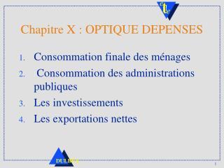 Chapitre X : OPTIQUE DEPENSES