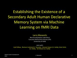 Larry  Manevitz Neurocomputation  Laboratory Caesarea Rothschild Institute (CRI)