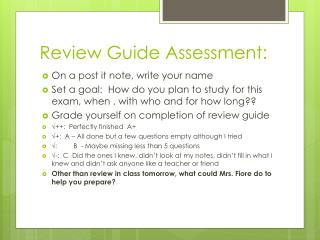 Review Guide Assessment: