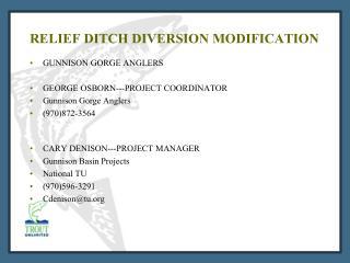 RELIEF DITCH DIVERSION MODIFICATION
