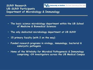 SUNY Research UB-SUNY Participants Department of Microbiology & Immunology