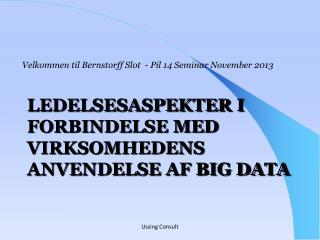 Ledelsesaspekter i forbindelse med virksomhedens anvendelse af Big data