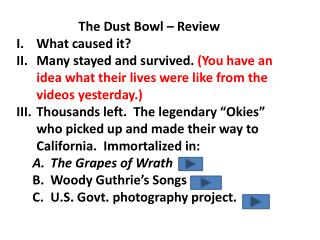 The Dust Bowl – Review What caused it?