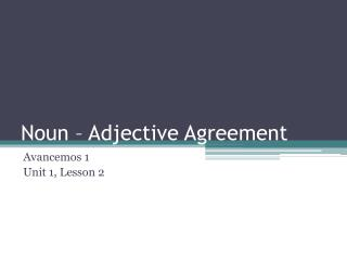 Noun – Adjective Agreement