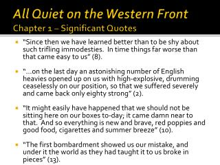 All Quiet on the Western Front Chapter 1 � Significant Quotes