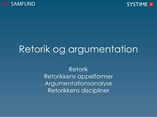 Retorik og argumentation