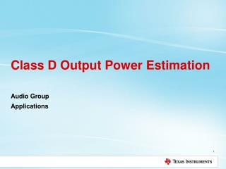 Class D Output Power Estimation