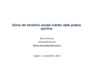 Stima del beneficio sociale indotto dalla pratica sportiva
