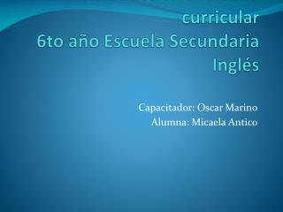 E-portfolio Introducción al diseño curricular 6to año Escuela Secundaria Inglés