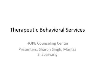 Therapeutic Behavioral Services