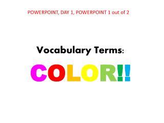 Vocabulary Terms: C O L O R ! !