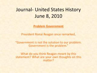 Journal- United States History June  8,  2010