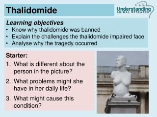 Learning objectives Know why thalidomide was banned