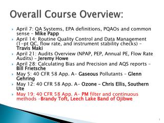 Overall Course Overview: