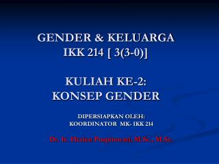 GENDER & KELUARGA IKK 214 [ 3(3-0)] KULIAH KE-2:   KONSEP GENDER