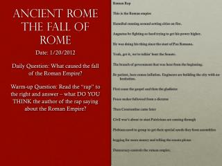 Ancient Rome The Fall of Rome