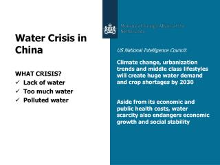 Water Crisis in China