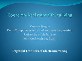 Coercion-Resistant STV tallying