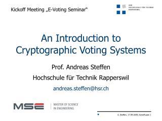 """Kickoff Meeting """" E-Voting  Seminar"""""""