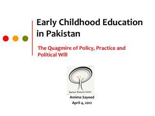 Early Childhood Education in Pakistan