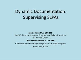 Dynamic Documentation:  Supervising SLPAs