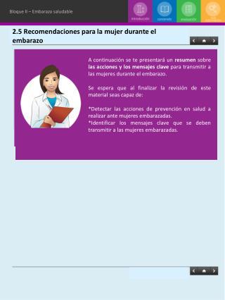 2.5 Recomendaciones para la mujer durante el embarazo