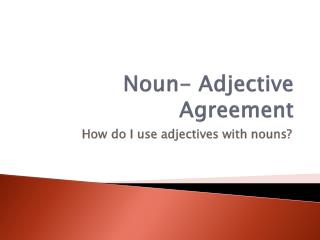 Noun- Adjective Agreement