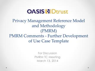 For Discussion PMRM TC Meeting March 13, 2014