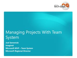 Managing Projects With Team System