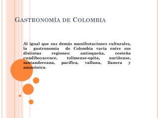 Gastronom�a de Colombia