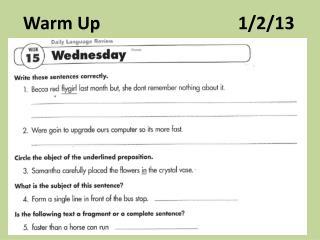 Warm Up                               1/2/13