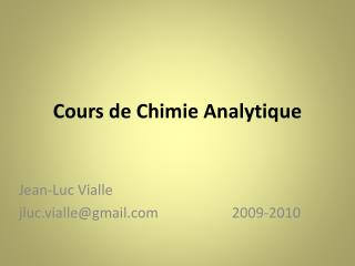 Cours de Chimie Analytique