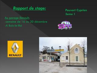 Rapport de stage: