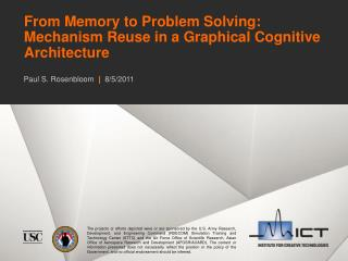 From Memory to Problem Solving: Mechanism Reuse in a Graphical Cognitive Architecture