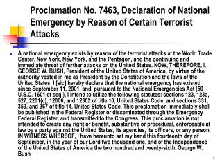 Proclamation No. 7463, Declaration of National Emergency by Reason of Certain Terrorist Attacks