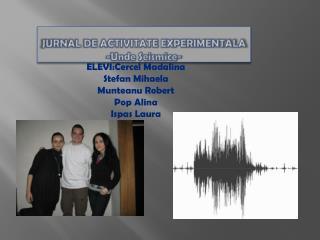JURNAL DE ACTIVITATE EXPERIMENTALA - Unde Seismice -