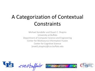 A Categorization of Contextual Constraints
