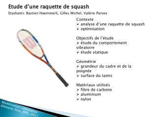 Etude d'une raquette de squash