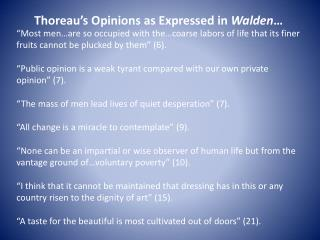 Thoreau's Opinions as Expressed in  Walden …
