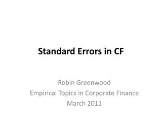 Standard Errors in CF