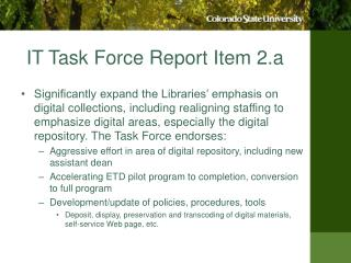 IT Task Force Report Item 2.a