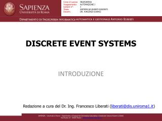 DISCRETE EVENT SYSTEMS