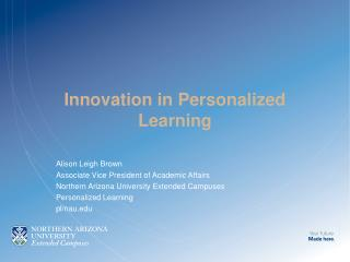 Innovation in Personalized Learning