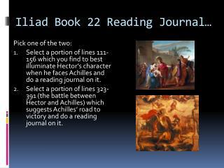 Iliad Book 22 Reading Journal…
