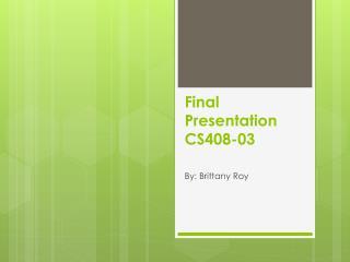 Final Presentation CS408-03